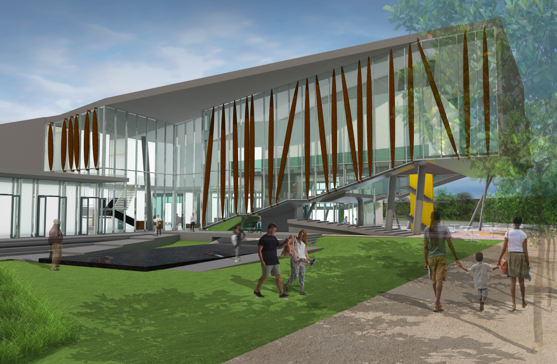 Exterior rendering of the proposed new museum.
