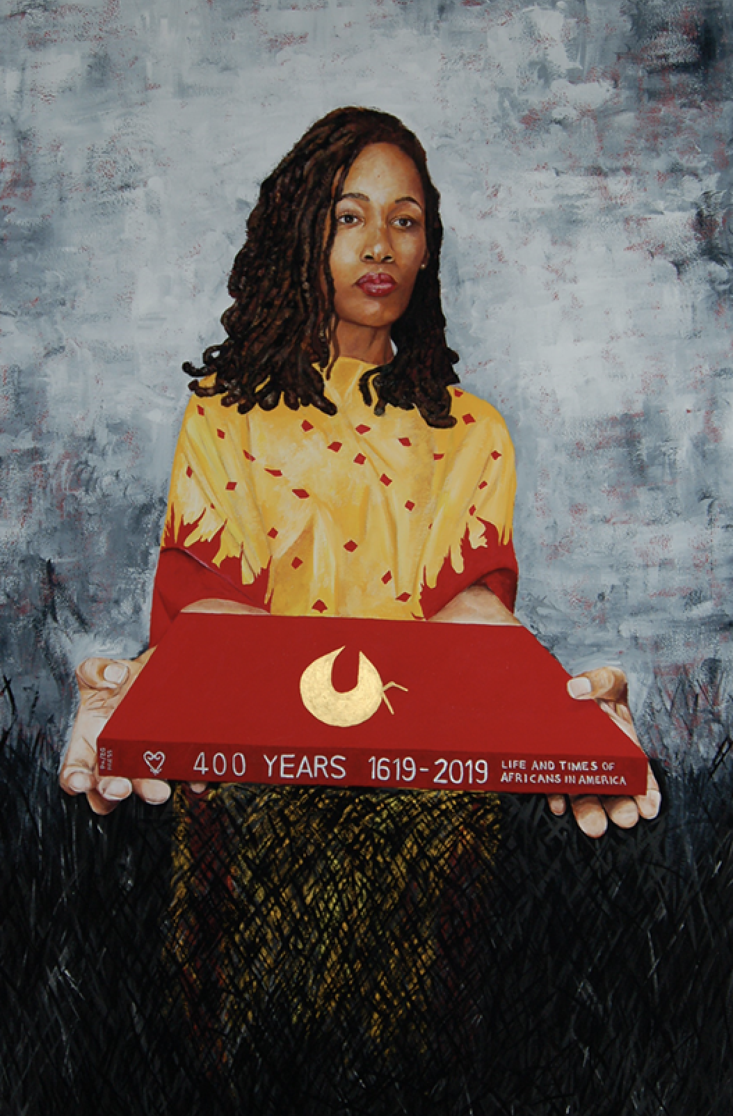 Painting | Woman with red object.